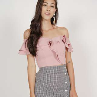 🚚 BNWT🎉 MDS Flounce Ruffled Top in Pink, XS