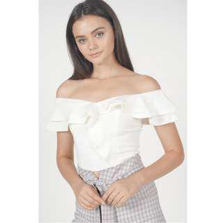 🚚 BNWT🎉 MDS Flounce Ruffled Top in Ivory, XS