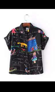 Cartoon Graphic Print Top blouse Cute black and multicolors harajuku Japanese style Sz S