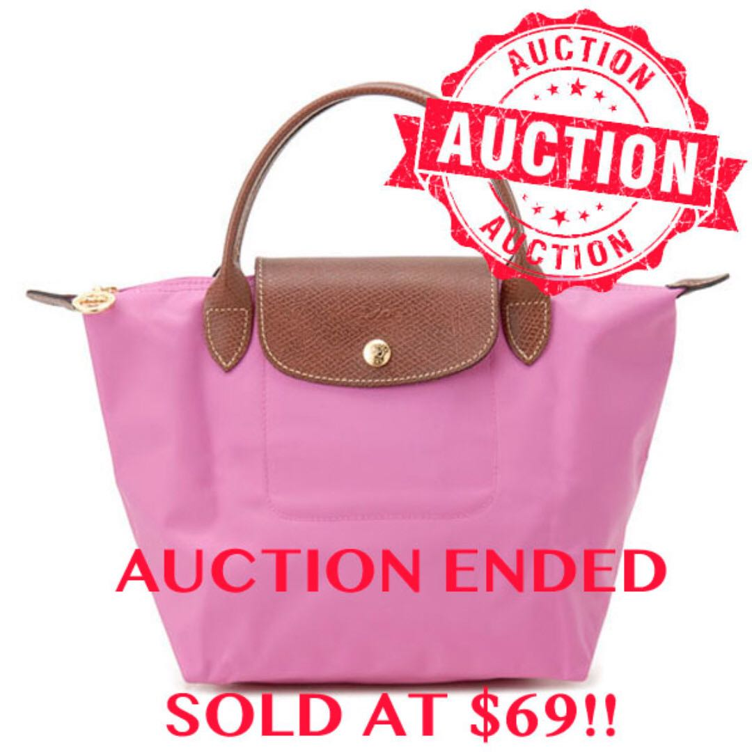 "Auction ""Like""   ""Bid"" Authentic Brand New Longchamp Le Pliage Nylon Small  Short Handle Tote Bubble Pink Seggusted Retail   148 e5438fe48dcce"