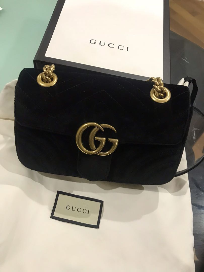 b48d0fbbe31e Authentic Gucci Marmont Velvet Mini Bag Black