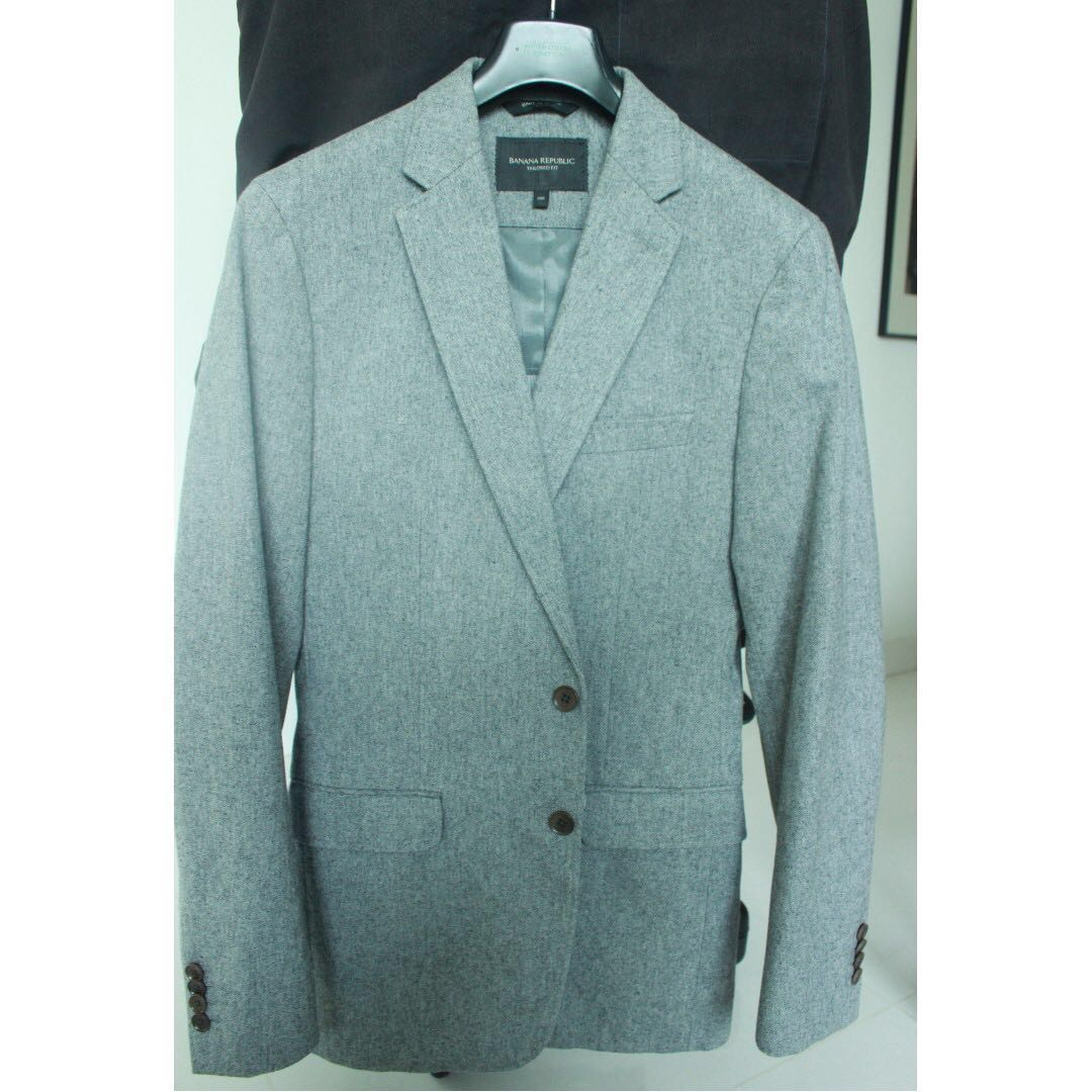 05edd79a4d048 Banana Republic Blazer Light Grey Cotton, Men's Fashion, Clothes ...