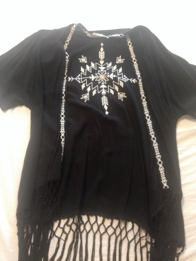 Black Fringe Kimono with Off White Embroidery - Medium