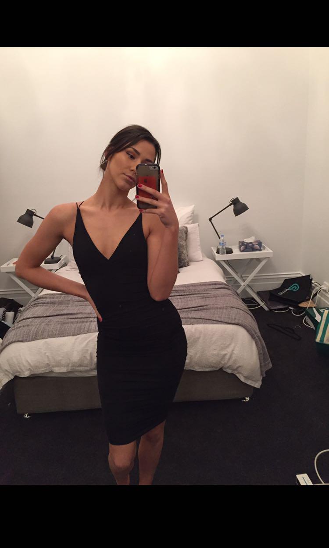 Black silky tight dress