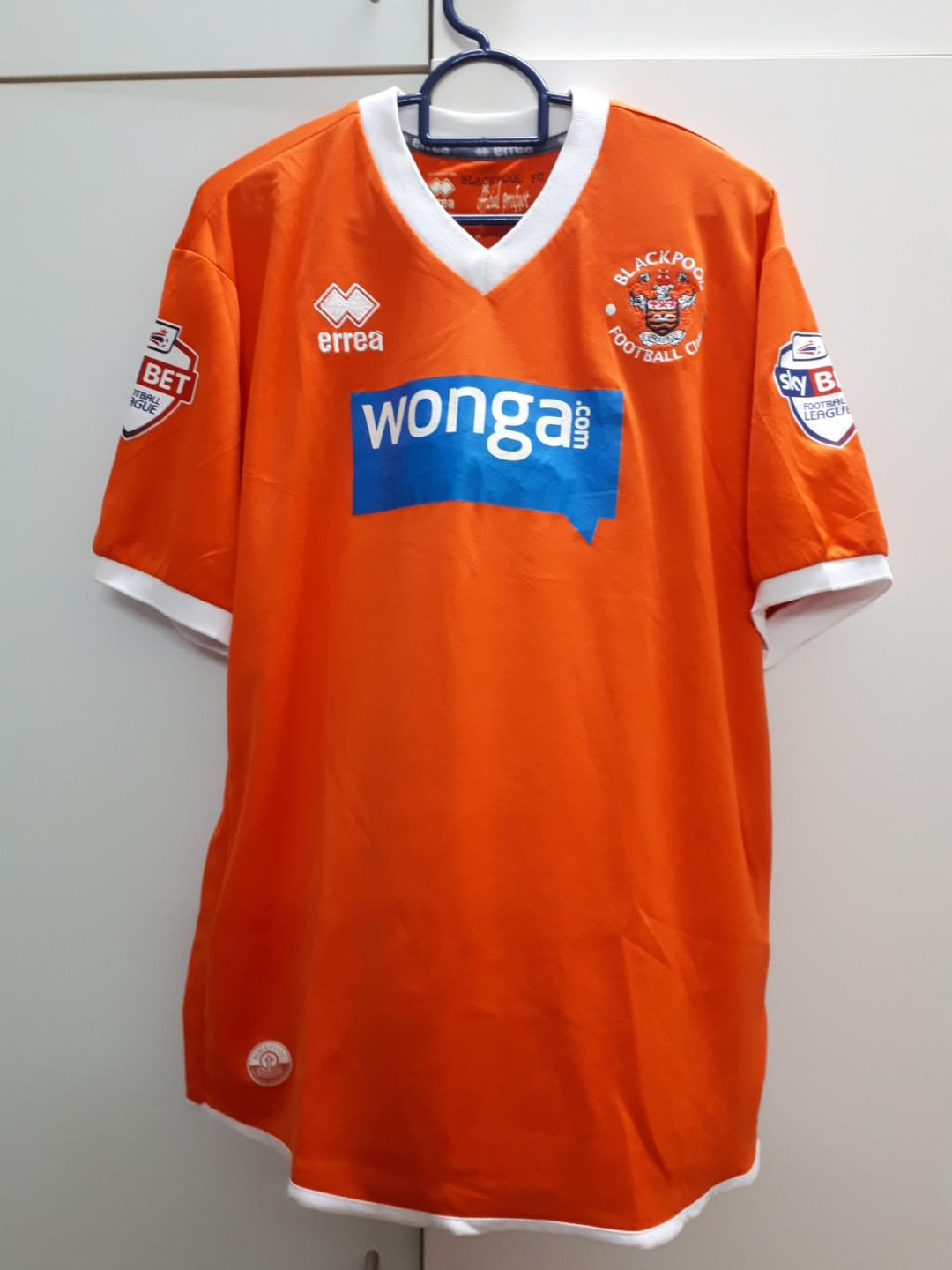 Blackpool Fc Home Jersey With Orlandi Prints Size L Sports Sports Apparel On Carousell