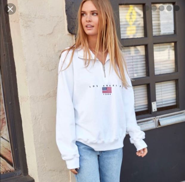 4dc6b7a04db brandy melville white los angeles half zip sweatshirt, Women's ...