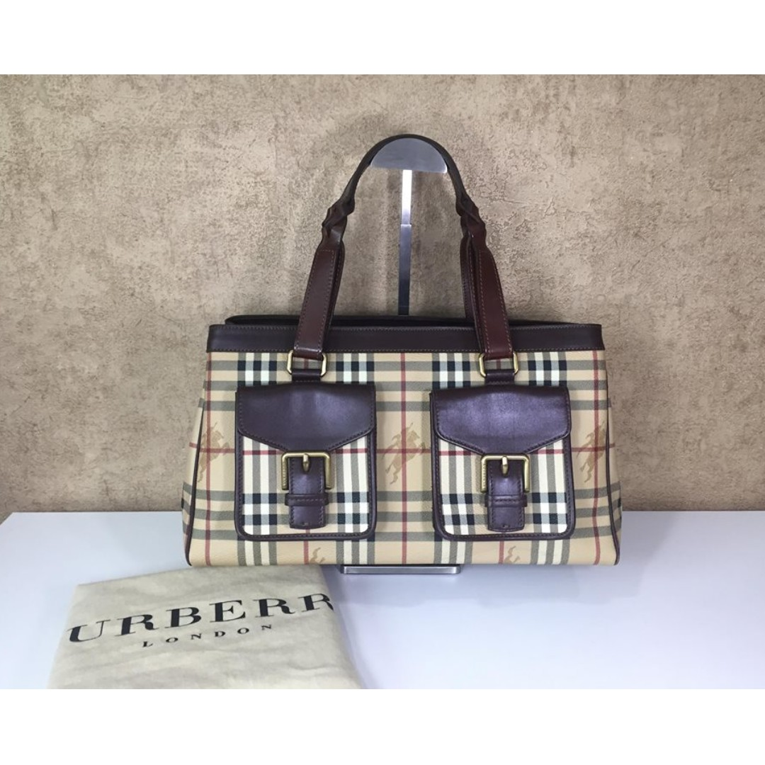 BURBERRY HAYMARKET CHECK COATED CANVAS TOTE BAG 7f1074fc6f988
