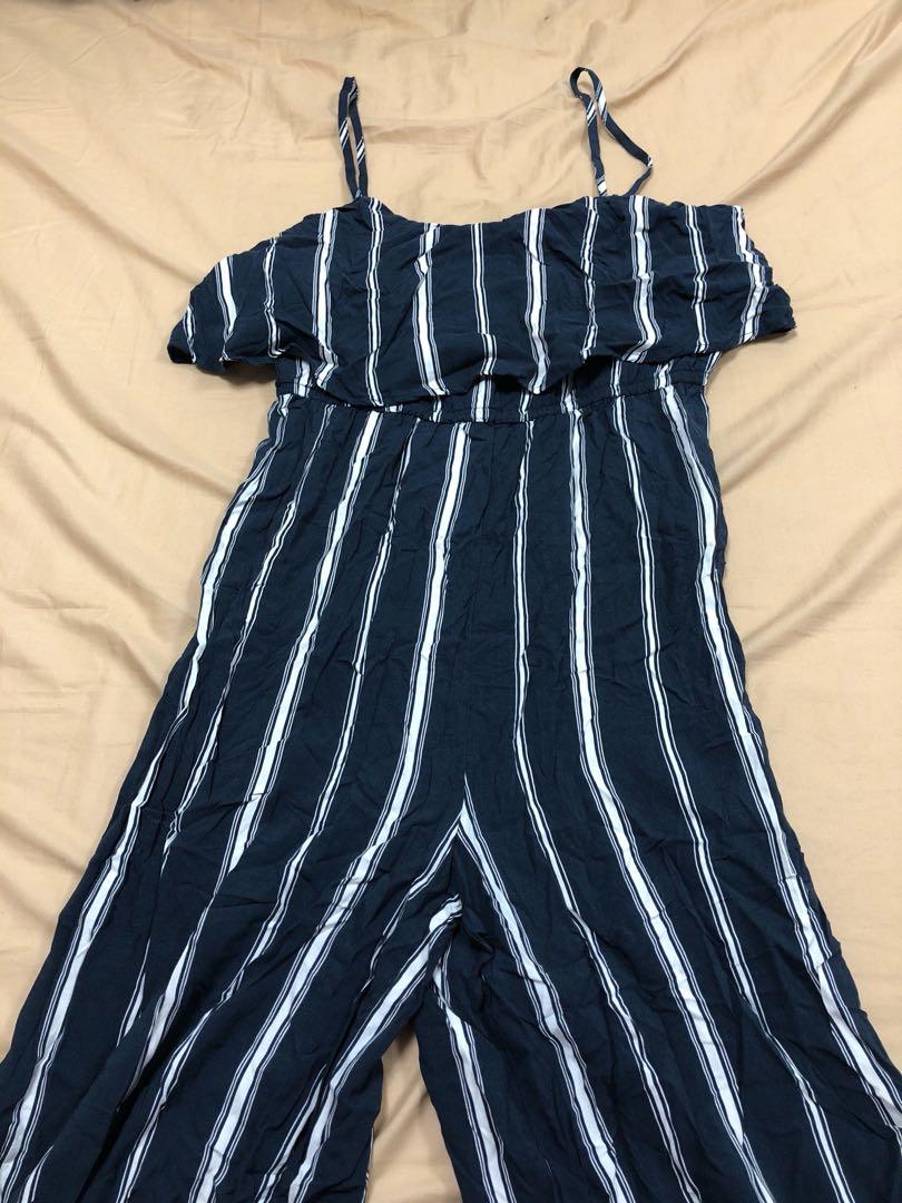 e0063e82d34d Cotton On Jumpsuit dark blue with white stripes