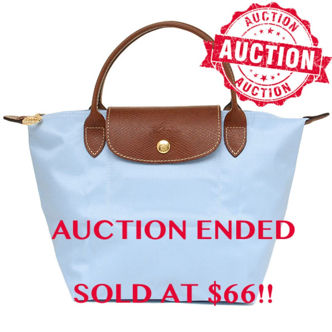 Auction Bidding Authentic Brand New Longchamp Le Pliage Nylon Small Short  Handle Tote Limited Edition Color Boy Blue 0694d3371d7be