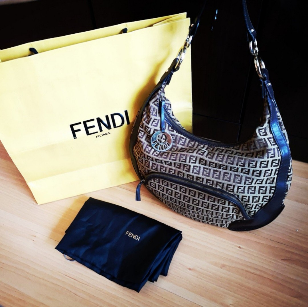 FENDI  250 FastDeal  Tobacco Zucca Canvas Hobo Bag cce531c707ed4