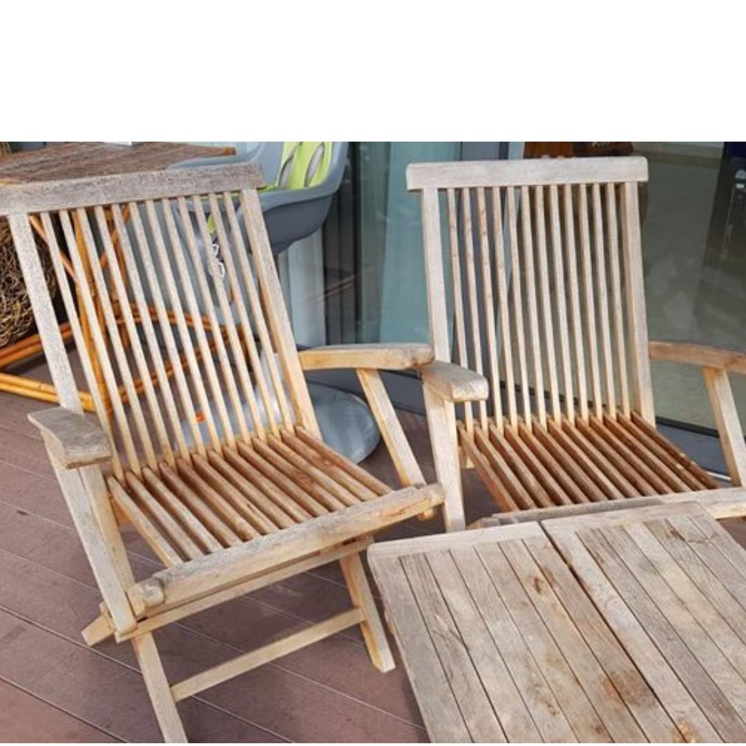 Teak Outdoor Table And Two Chairs Set