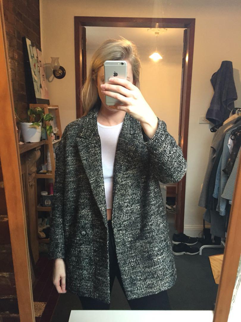 H&M oversized grey boyfriend jacket