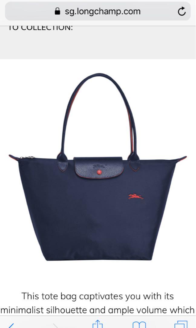 a44d9b9b64 Longchamp Bag medium small size 2605 long handle tote bag la plaige  collection navy blue
