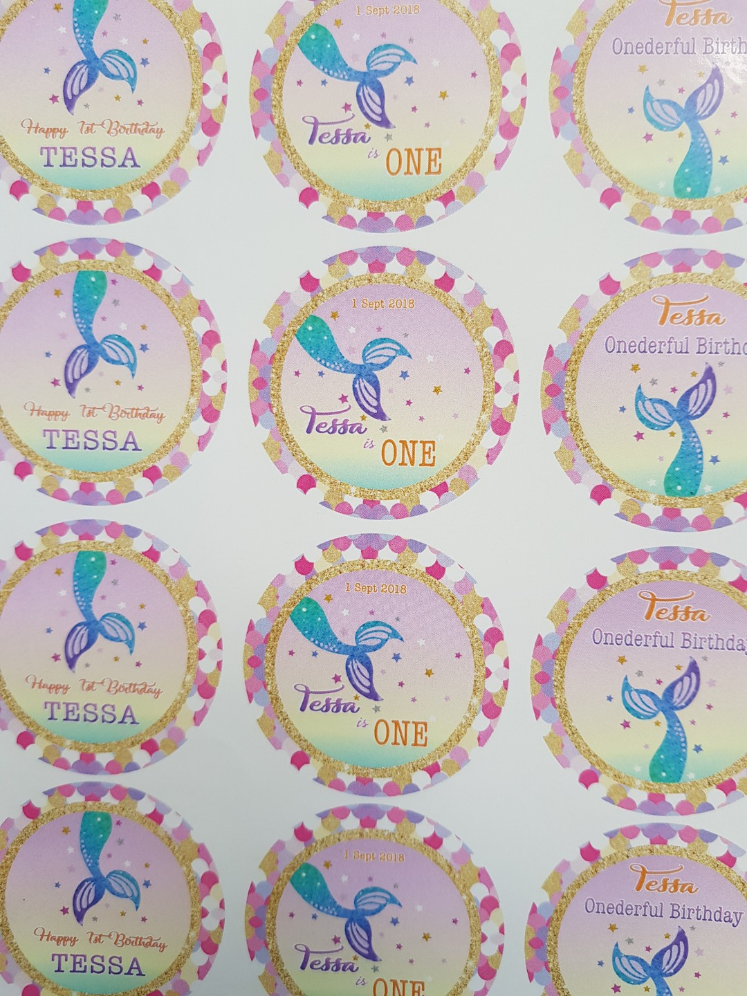 Mermaid Ariel Sticker Label Birthday Gift Tag Babies Kids Toys