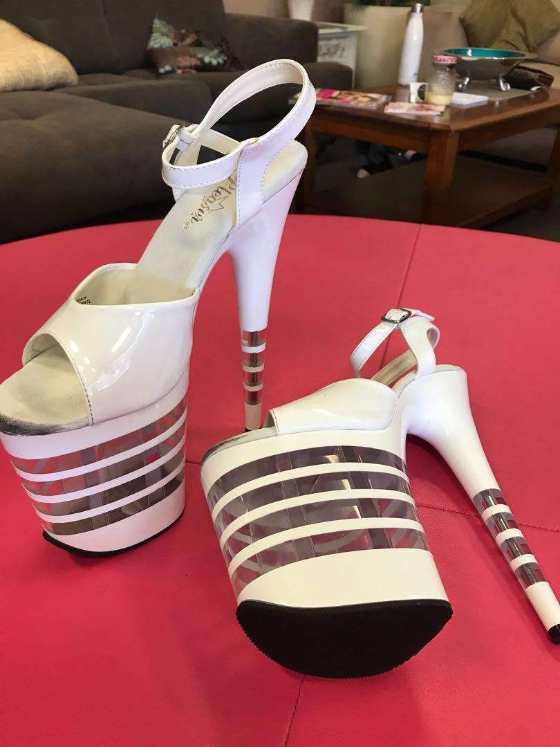 """*NEW* $60 PLEASER WHITE PATENT LEATHER HEELS 8"""""""