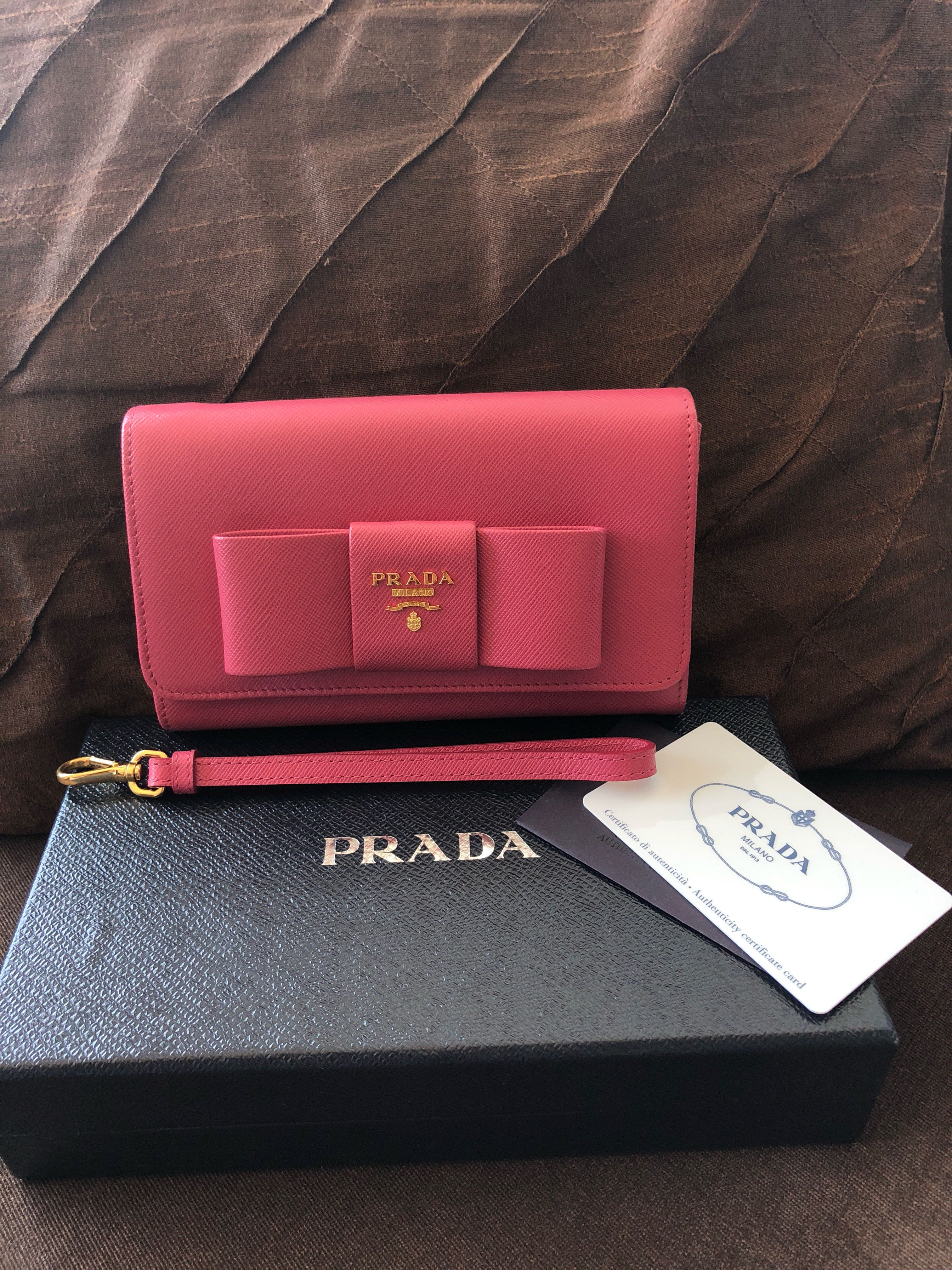 7f91d27e1a4f Prada Saffiano Peonia-coloured wallet, Luxury, Bags & Wallets ...