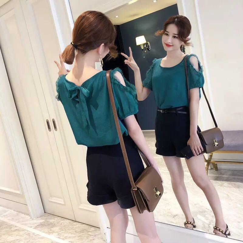 d6b1892a3fdaa Summer Women's Korean Fashion Chiffon Short Sleeve Off Shoulder Top