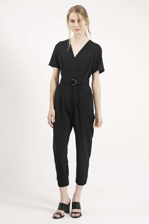 4bee2ad3948e Topshop Petite Judo Wrap Black Jumpsuit