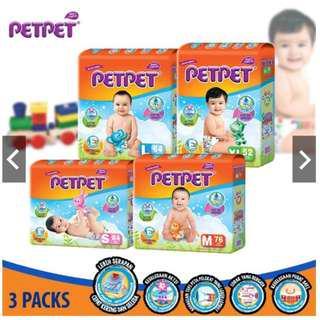 PetPet Tape Diaper Mega Pack S84/M76/L64/XL52 (3 pack)