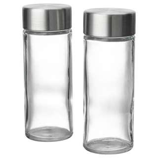 IKEA ÖRTFYLLD Spice jar, glass, stainless steel 2pcs
