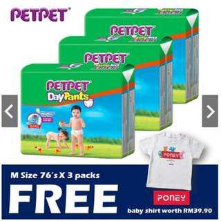 PetPet Daypants Mega Pack M76/L66/XL56/XXL48 (3 Pack) + Baby Poney Shirt