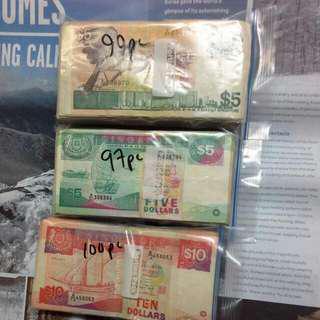 Singapore Old Notes Exchange, $5 Bird, $10 Ship