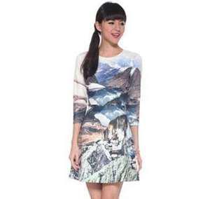 VL6607 Love bonito printed scenic sleeve dress l