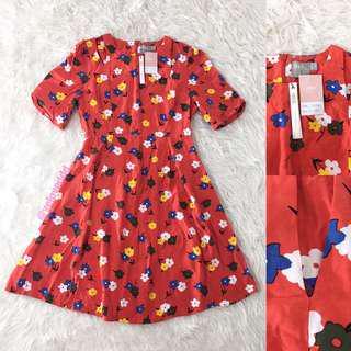 VL6586 New asos red floral cutout detail dress