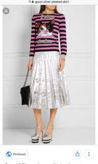 VL6615 Gucci pleated metalic silver  leather midi skirt