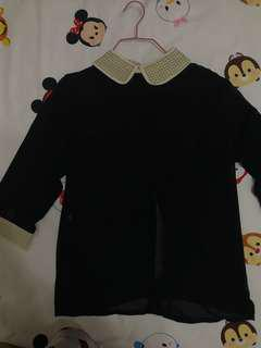 Chiffon black top with gold details on sleeve n collar