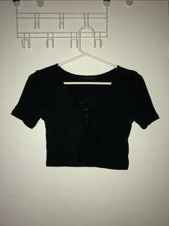 Black cropped t-shirt button up