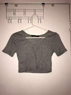 Grey cropped t-shirt button up