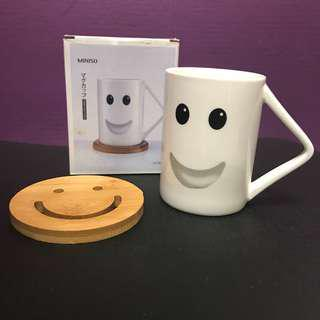 BNIB Miniso Smiley Mug and Coaster