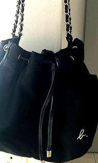 Authentic Agnes B Black Nylon Drawstring Sling Bag