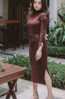 Brown Knit Midi Dress + belt
