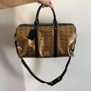 MCM Authentic Gold Duffle Bag