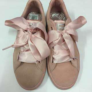 Puma Basket Suede Heart (Peach Beige - Metallic Beige) Pink