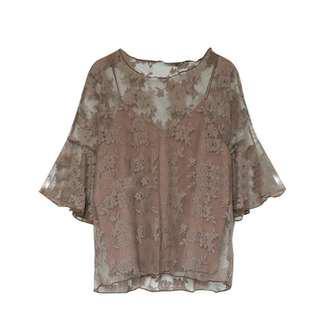 Lace Blouse 2 Pc Set Short Sleeves