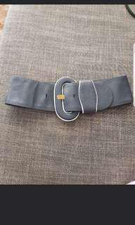 Grey Leather Belt Size S/M