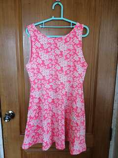 H&M neon pink floral dress