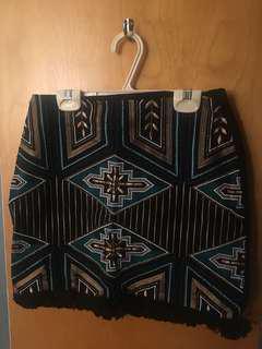 Black Patterned Skirt