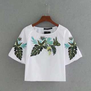 Summer embriodery shirts o-neck (like zara)