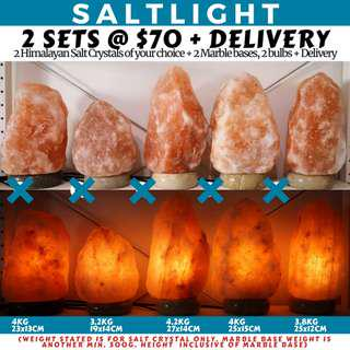 🚚 AUTHENTIC HIMALAYAN CRYSTAL SALT LAMPS | 84 MINERALS BENEFICIAL TO HUMAN BODY | 2 SETS FOR ONLY $70 + DELIVERY | CLEANSE AND PURIFY AIR | NATURALLY ANTIBAC | NEGATIVE IONS | IMPORTED FROM THE HIMALAYAS OF PAKISTAN