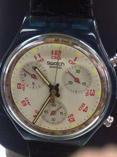 Swatch 三針黑色皮帶
