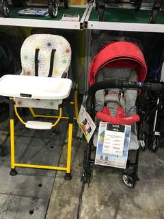 🚚 Capella Coni Mini RED Color + Lucky Baby High Chair combo