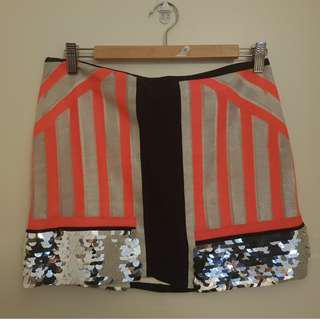 SASS & BIDE ALL GOOD THINGS EMBELLISHED NEON SILK MINI SKIRT