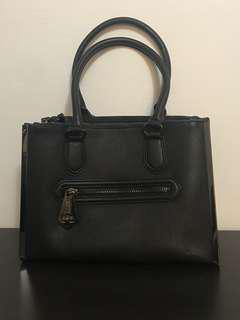 Black/Black Faux Leather Purse