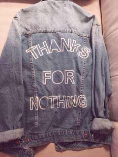 """""""Thanks For Nothing"""" Oversized Denim Jacket"""