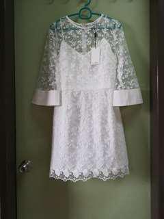 BNWT Love Bonito Premium White Flare Sleeves Dress