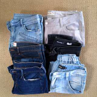 Assorted jeans and pants